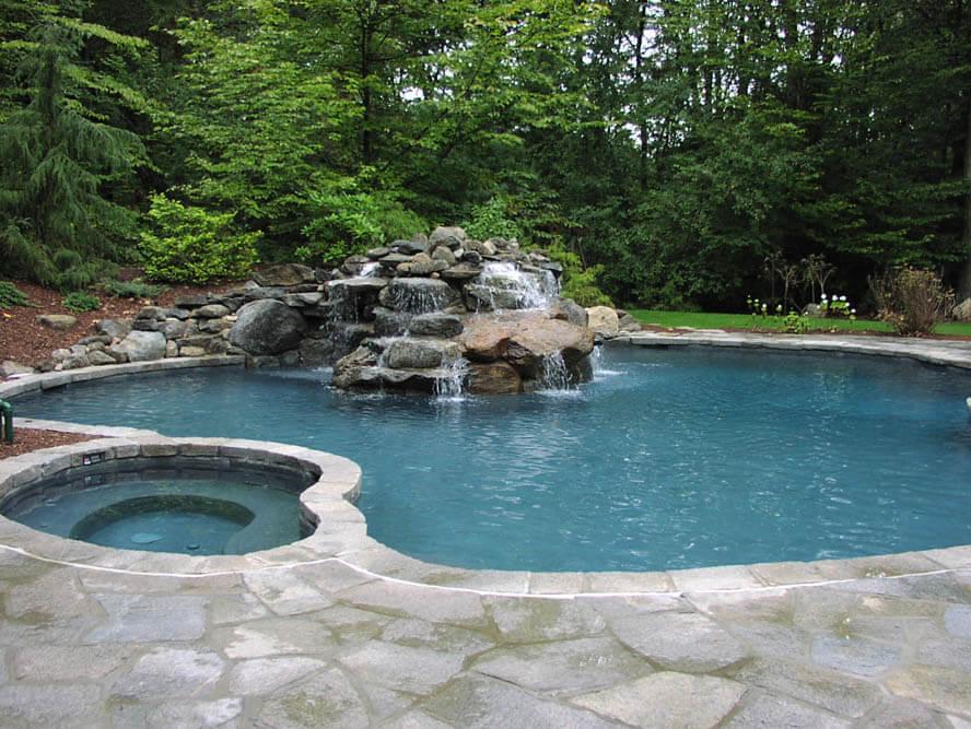 Gunite Inground Swimming Pool Waterfall Installation, CT