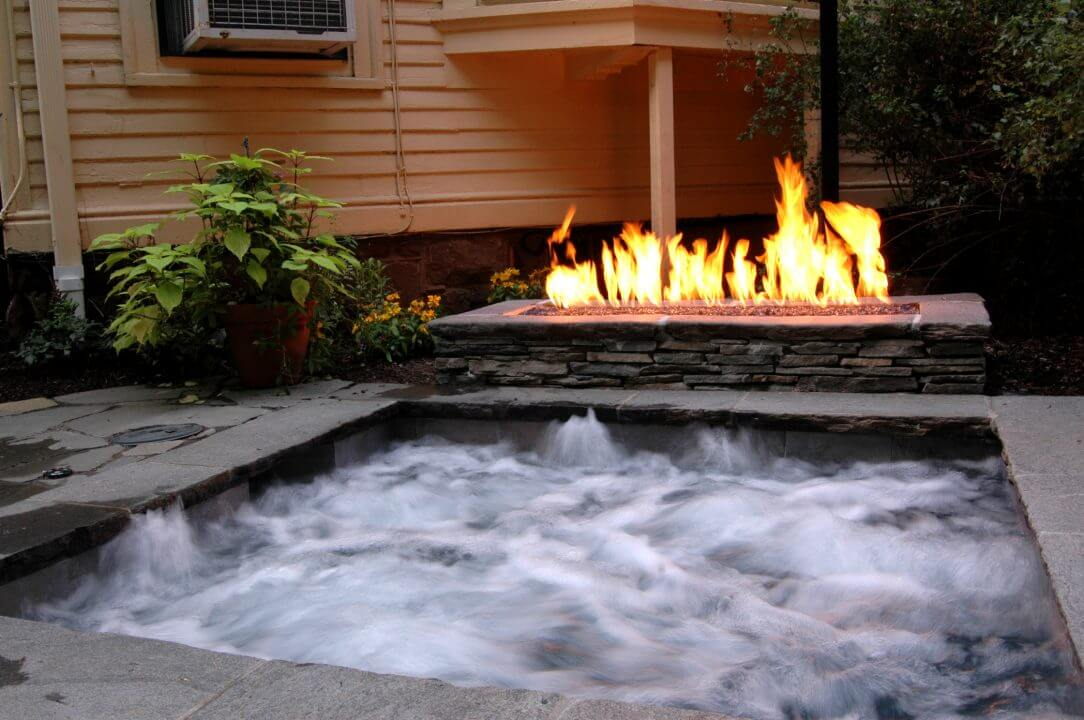 Gunite Spa with Fireplace