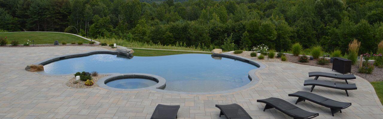 Freeform Inground Swimming Pool with Vanishing Edge