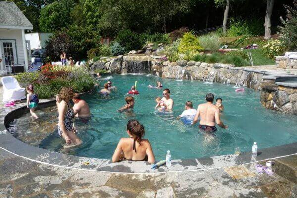 Gunite Inground Swimming Pool and Waterfall