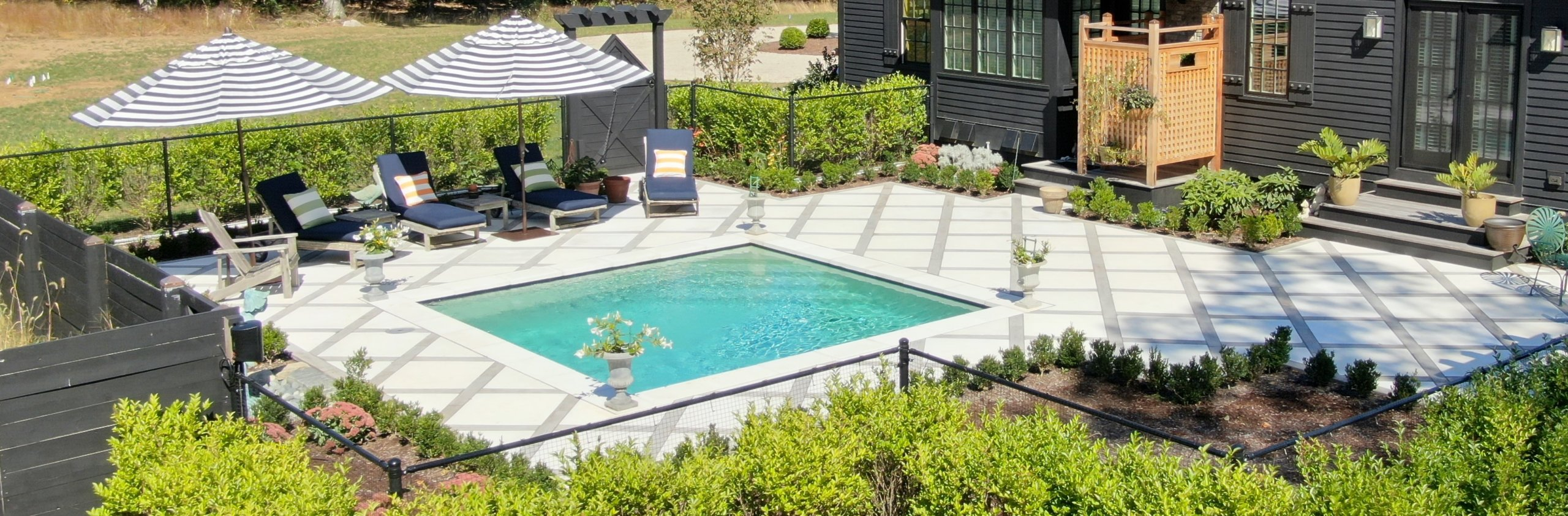 square inground gunite pool ct